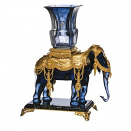 Baccarat Elephant Vase in midnight blue crystal