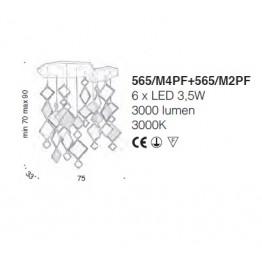 IDL Quadrie Ceiling Lamp  565/M4PF+565/M2PF