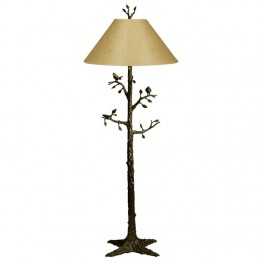 Corbin Bronze Arbre Floor Lamp with nest and two birds shade separate