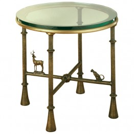 Corbin Bronze  Antelope Side Table (base) with antelope and sitting cat glass separate