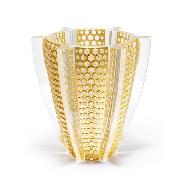 Lalique Rayons Clear with Gold Leaves Large Vase, Limited Edition