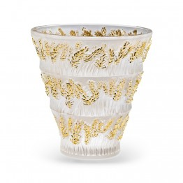 Lalique Provence Gold Stamped Vase
