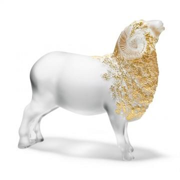 Lalique Gold Stamped Large Belier Ram