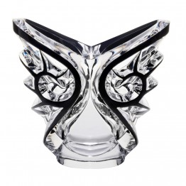 Lalique Tourbillons Clear & Black Enamel Oval Vase