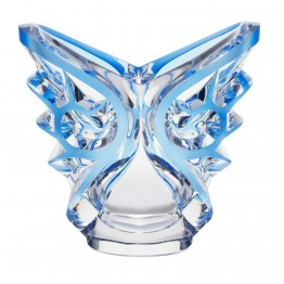 Lalique Tourbillons Clear & Blue Patina Oval Vase