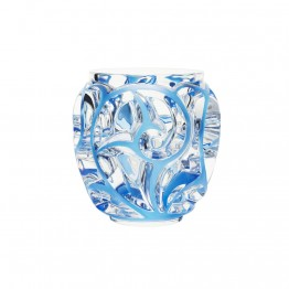 Lalique Tourbillons Clear & Blue Patina Vase
