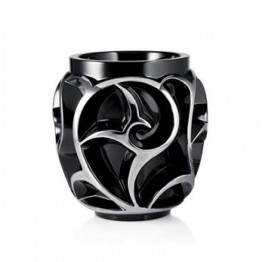 Lalique Tourbillons Black Platinum Enamelled Vase, Limited Edition