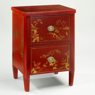 Vaughan Red lacquer decorated bedside table FT0008.RE.BR