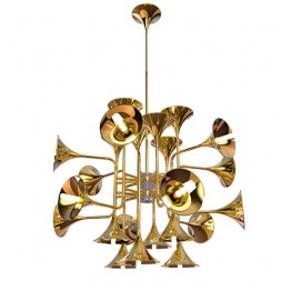Delightfull Botti Art Deco Vintage Brass Chandelier