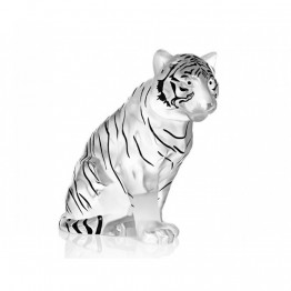 Lalique Black Enamel Sitting Tiger, Numbered Edition