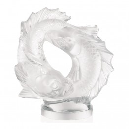 Lalique Double Clear Fish Sculpture, Medium
