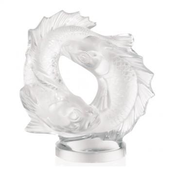 Lalique Double Clear Fish Sculpture, Medium