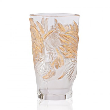 Lalique Gold Stamped Rooster Vase