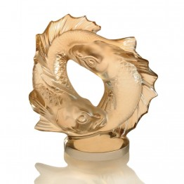 Lalique Gold Luster Double Fish Sculpture, Medium