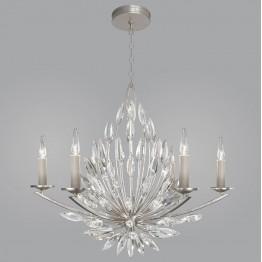 Fine Art Lamps 881140ST Lily Buds Silver Leaf Ceiling Chandelier