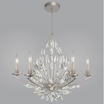 Fine Art Lamps 881140ST Lily Buds Silver Leaf Ceiling Chandelier