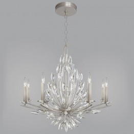 Fine Art Lamps 881240ST Lily Buds Silver Leaf Hanging Chandelier