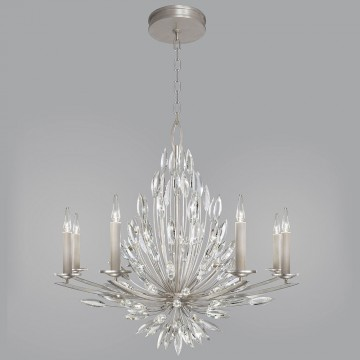 Fine Art Lamps 881240ST Lily Buds Silver Leaf Hanging Chandelier