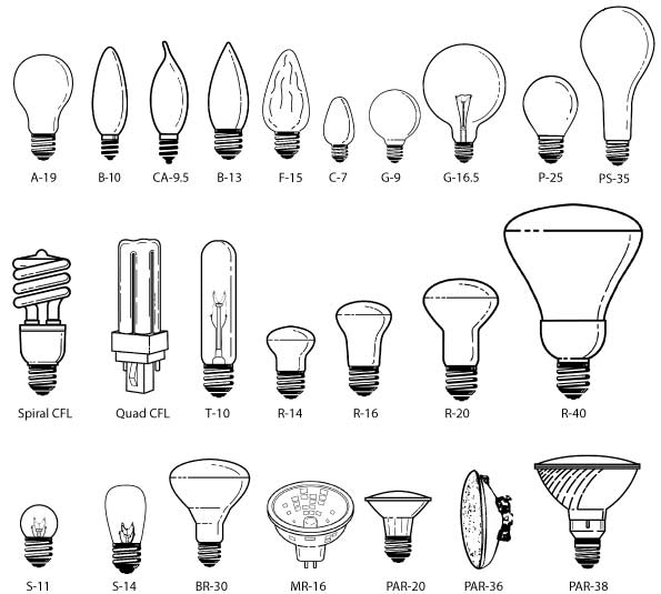 Light Bulb Bases Chart: All About Light Bulbs (Light Bulb Shapes, Bulb Size, Bulb
